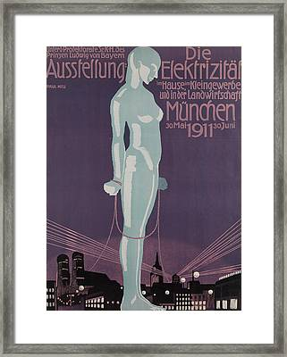 Poster Advertising The Electricity Exhibition Framed Print by Paul Neu