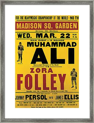 Poster Advertising The Fight Between Muhammad Ali And Zora Folley In Madison Square Garden Framed Print by American School