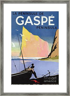 Poster Advertising The Gaspe Peninsula Quebec Canada Framed Print
