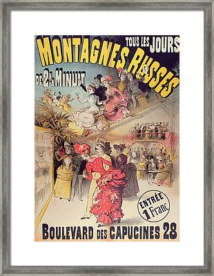 Poster Advertising The Montagnes Russes Roller Coaster Framed Print by French School