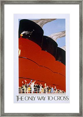 Poster Advertising The Rms Queen Mary Framed Print by English School
