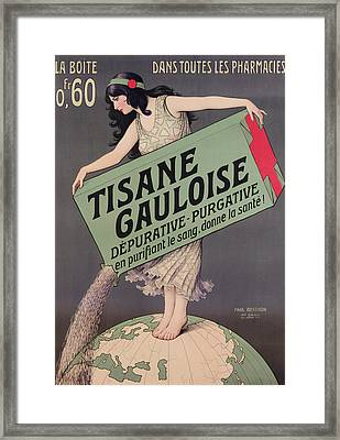 Poster Advertising Tisane Gauloise Framed Print by Paul Berthon