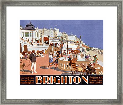 Poster Advertising Travel To Brighton Framed Print by Henry George Gawthorn