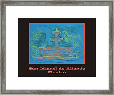 Poster - Blue Fountain Framed Print by Marcia Meade