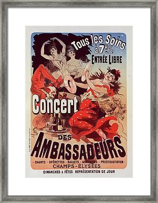 Poster For Concert Des Ambassadeurs. Chéret Framed Print by Liszt Collection