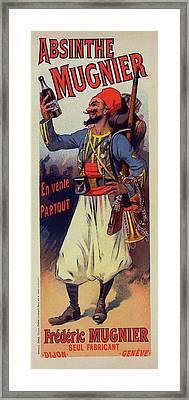 Poster For  L Absinthe Mugnier. Lucien Lefevre 1850 France Framed Print