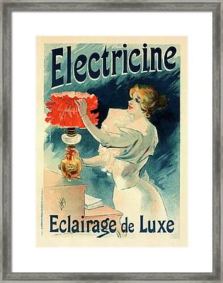 Poster For L Électricine, Lucien Lefevre 1850 France Framed Print