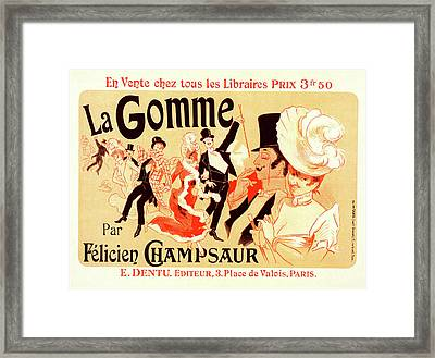 Poster For La Gomme. Novel By By Felicien Champsaur Framed Print by Liszt Collection