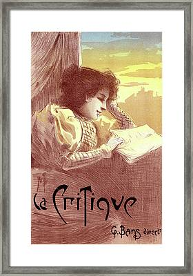 Poster For Le Journal La Critique. Ferdinand Mifliez Framed Print