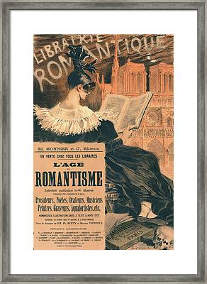 Poster For Librairie Romantique. Promoting The Book Lage Du Framed Print