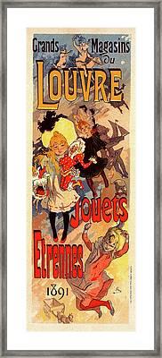 Poster For Magasins Du Louvre. Chéret, Jules 1836-1932 Framed Print