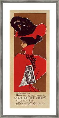 Poster For The Magazine Zlata Praha Framed Print by Liszt Collection