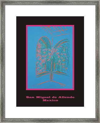 Poster - Light Blue Patio Framed Print by Marcia Meade