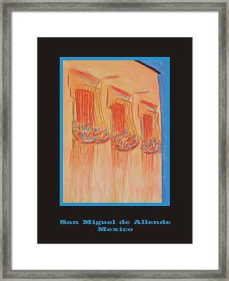 Poster - Orange Balconies Framed Print by Marcia Meade