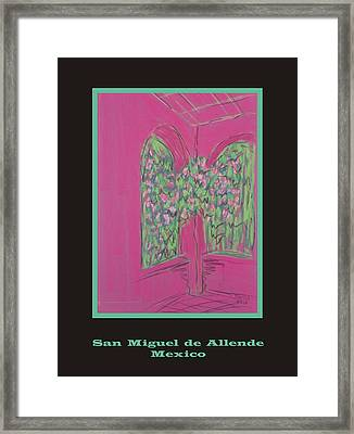 Poster -  Pink Patio Framed Print by Marcia Meade