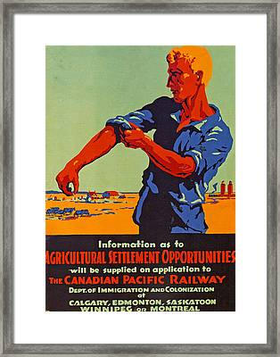 Poster Promoting Emigration To Canada Framed Print by Canadian School