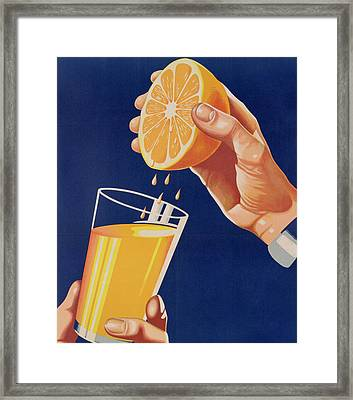 Poster With A Glass Of Orange Juice Framed Print by Israeli School
