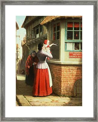 Posting A Letter, 1879 Framed Print by Frederick Daniel Hardy