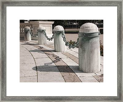 Posts And Chains At Niagara Square Framed Print