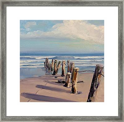 Posts Just Touch The Water Framed Print by Dianna Poindexter