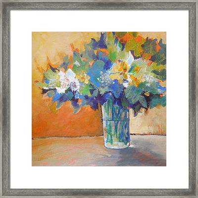 Posy In Orange And Blue Framed Print by Susanne Clark