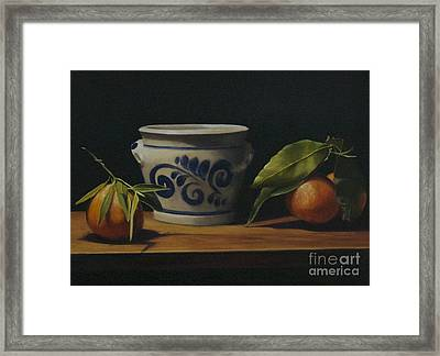Pot And Clementines Framed Print