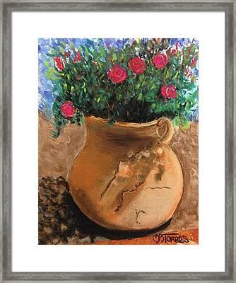 Pot Full Of Roses Framed Print