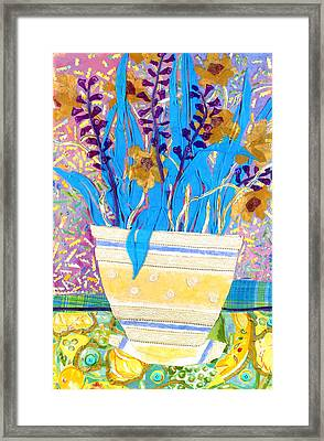 Pot Of Blue Framed Print by Diane Fine