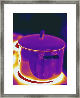 Pot On Stovetop, Thermogram Framed Print by Science Stock Photography