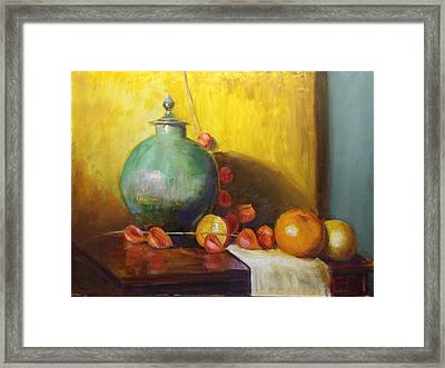 Pot With Fruit Framed Print