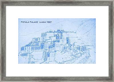 Potala Palace  Lhasa Tibet  - Blueprint Drawing Framed Print by MotionAge Designs