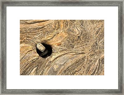 Pothole And Stone Pemaquid Point Maine Framed Print
