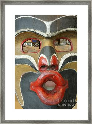 Potlatch Face British Columbia Canada Framed Print by John  Mitchell