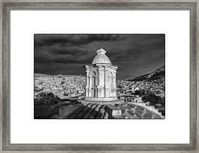 Potosi Church Dome Black And White Framed Framed Print by For Ninety One Days