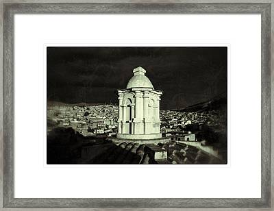 Potosi Church Dome Black And White Vintage Framed Print by For Ninety One Days
