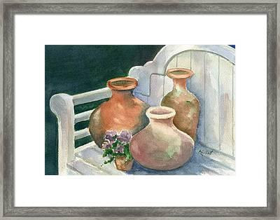 Pots At Andys Garden Framed Print by Marsha Elliott
