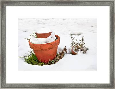 Pots In The Snow Framed Print