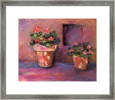 Framed Print featuring the pastel Pots N' Plants by Julie Maas