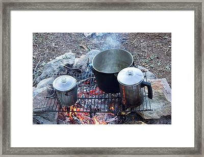Pots On A Camp Fire Framed Print by Jim West