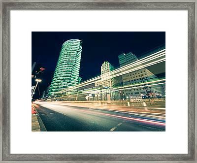 Potsdamer Platz - Berlin At Night Framed Print