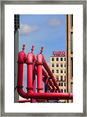 Potsdamer Platz Pink Pipes In Berlin Framed Print