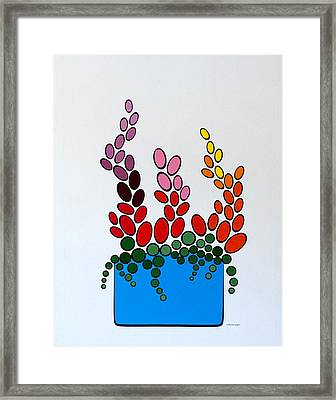 Potted Blooms - Blue Framed Print by Thomas Gronowski
