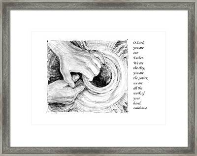Framed Print featuring the drawing Potter And Clay by Janet King
