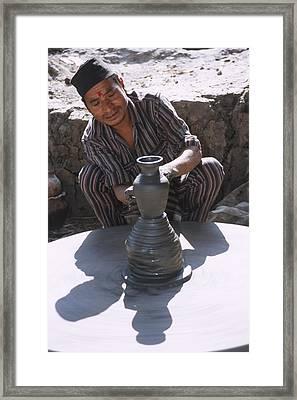 Potter At Work In Bhaktapur Framed Print
