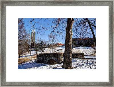 Potter Lake Foot Bridge And Campanile Framed Print