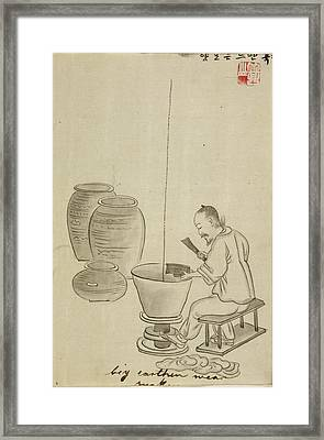 Potter Making Jars On A Kick Wheel Framed Print by British Library