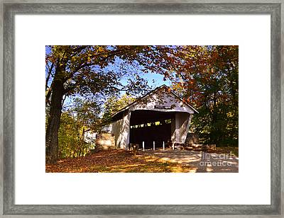 Potter's Bridge In Fall Framed Print