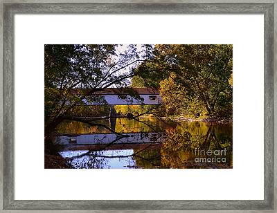 Potter's Covered Bridge Reflection Framed Print by Amy Lucid