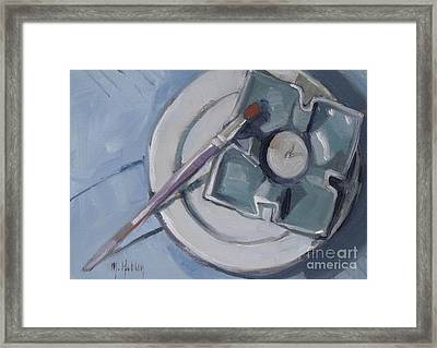 Pottery And Paintbrush Still Life Painting Framed Print