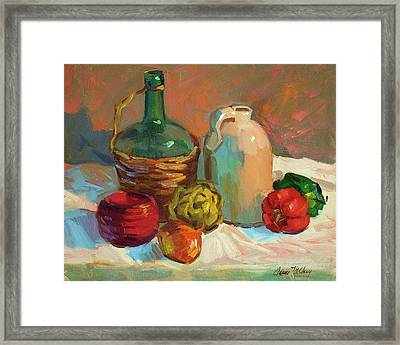 Pottery And Vegetables Framed Print by Diane McClary